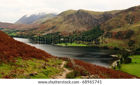 View from Haystacks path of Crummock Water towards Buttermere, Lake District, England