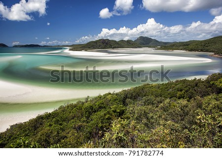 View from Hill Inlet of the waters, cove and swirling sands of Whitsunday Island with Windhaven Beach in the distance in Queensland, Australia #791782774