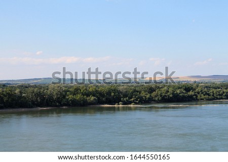View from Hungary (Nyergesújfalu) to Slovakia and Danube river Stock fotó ©