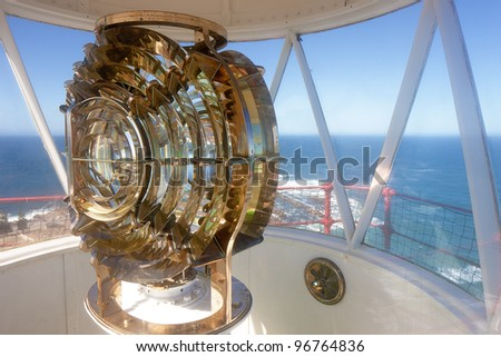 View from inside a lighthouse over the ocean (Mossel Bay )