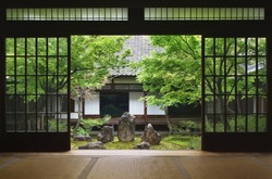 View from inside on japanese garden in Kyoto