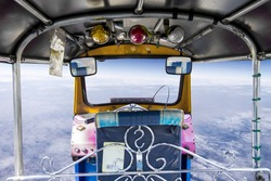 view from inside thailand Tuk-Tuk, three wheel local taxi in Thai, Tuk-tuk ride, a favorite of tourists