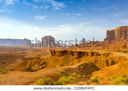 view from john fords point to the giant Merrick buttes,  sandstone formations in the Monument valley