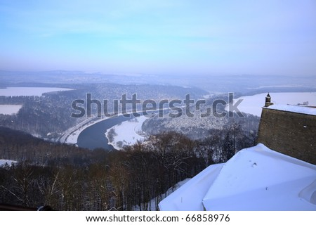 View from Königstein Fortress, looking down onto the Elbe and the town of Königstein