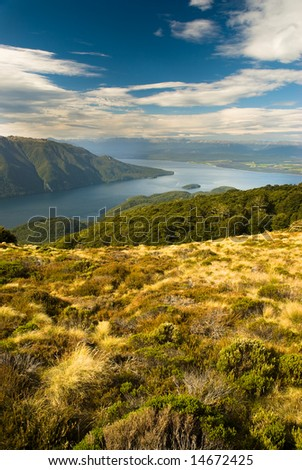 View from kepler track over lake te anau, fiordland, new zealand.