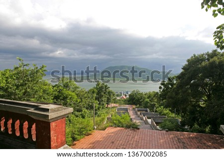 View from Khao Tang Kuan hill to the sea, Songkhla, Thailand, Southeast Asia, Asia