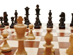 view from king of first move pawn on chess board close up