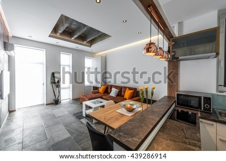 View from kitchen to living room in modern flat interior #439286914