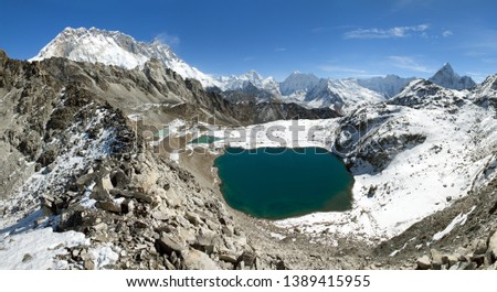 view from kongma la pass to mount lhotse and Makalu - sagarmatha national park, trek to Everest base camp and three passes - Nepal Himalayas mountains #1389415955