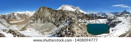 view from Kongma la pass to mount lhotse and Makalu - sagarmatha national park, trek to Everest base camp and three passes - Nepal Himalayas mountains #1408094777