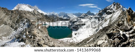 view from Kongma la pass to mount lhotse and Makalu - sagarmatha national park, trek to Everest base camp and three passes - Nepal Himalayas mountains #1413699068