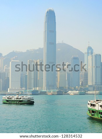 View from Kowloon to Hong Kong island