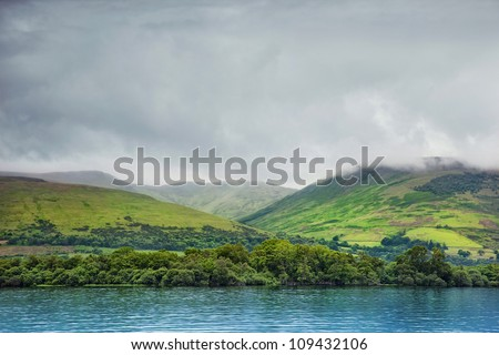view from Loch Lomond on the hills, Scotland