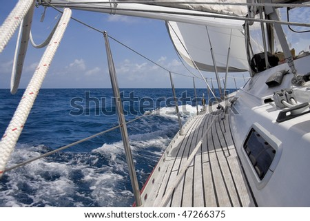 View from luxurious sailboat sailing through the ocean. #47266375