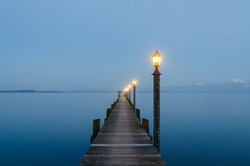 View from Malerwinkel at lake Chiemsee, Bavaria, Germany