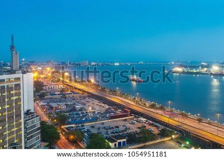 View from Maman Kotangora House, 23A Marina, Lagos, NIGERIA #1054951181