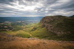 View from Marcuello castle in Sarsamarcuello Loarre Huesca Aragon Spain