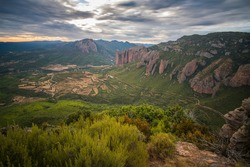 View from Marcuello castle in Sarsamarcuello Loarre Huesca Aragon Spain