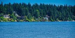 View from Mercer Island of the Lake Washington Shoreline in Bellevue Washington