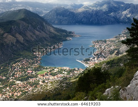 View from 800 meters heigh to the Kotor Bay in Montenegro