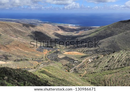 view from Mirador de Hari�­a, Lanzarote, Canary Islands, Spain