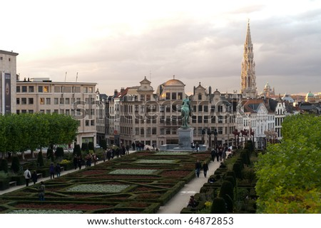View from Mont des Arts in Brussel with church and basilica in background