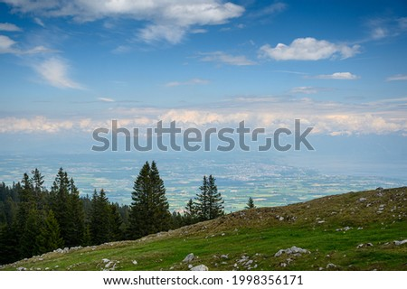 view from Mont Tendre over Lac Leman and Lausanne Photo stock ©