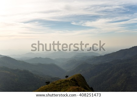 View from mount Little Adam's Peak. Mountain landscape in Sri Lanka. #408251473