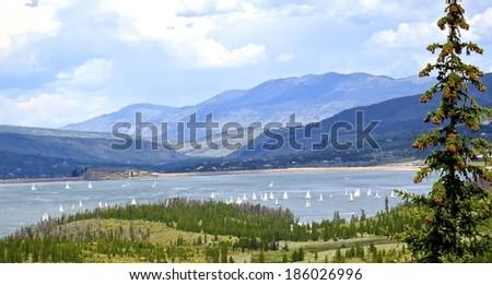 View from mountain top of sailboat race on Lake Dillon, CO/ Regatta on Lake Dillon/ same as title