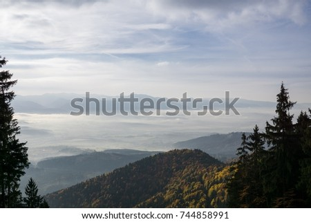 View from mountains with cloudy inversion below. Slovakia #744858991