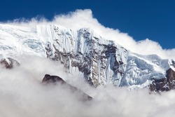 view from Nepal Himalayas mountains, white snowy rock face near mount Makalu