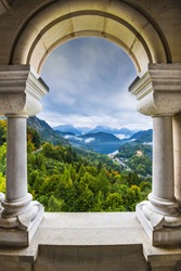 View from Neuschwanstein Castle in the Bavarian Alps of Germany.