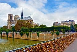 View from Notre Dame de Paris, Seine River and Pont des Arts (Passarelle des Arts) with many locks symbolize love for ever.