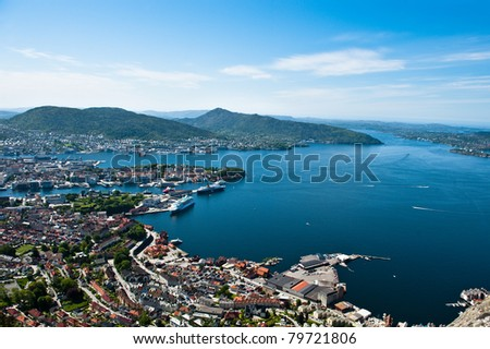View from one of the surrounding mountains in the Norwegian city Bergen