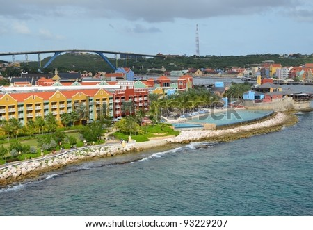 view from Otrobanda towards Willemstad, viewing the coastline with the Konigin Juliana bridge in the background;  Willemstad, Curacao