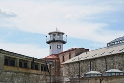 View from outside of the Eastern State Penitentiary. Historic tour. Abandoned building. Guard tower.