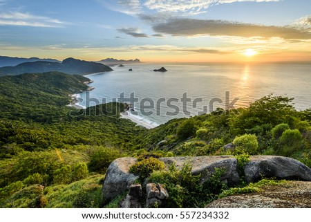 View from Pedra do Telegrafo mountain in Barra de Guaratiba, Rio de Janeiro, Brazil