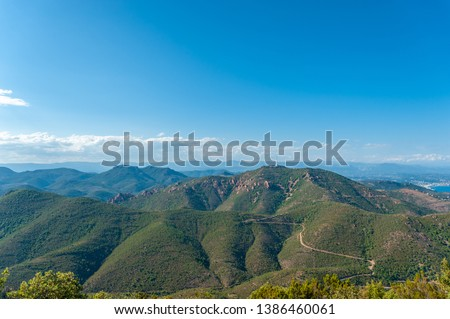View from Pic du Cap Roux in the Massif de l'Esterel near Antheor in the Department Var of the province Provence-Alpes-Cote d´Azur