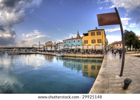 View from pier in Fazana, Croatia. - stock photo