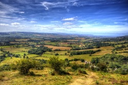 View from Quantocks Somerset in colourful HDR towards Bristol Channel