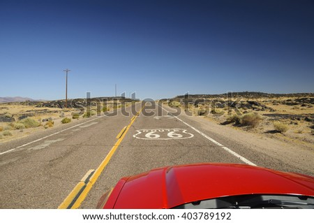 view from red car on famous Route 66 in Californian desert, USA #403789192