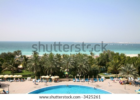 View from resort along coast in Dubai