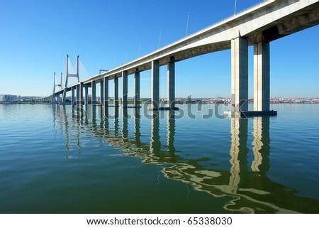 "View from river Tagus of Lisbon's ""Vasco da Gama"" Bridge, Portugal"