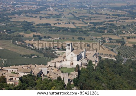 View from Rocco Maggiore of Assisi and the Basilica di San Francesco