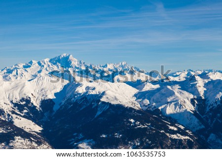 View from Saulire peak to french alpes, Three Valleys, Courchevel, Savoie, France #1063535753