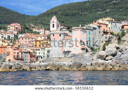 view from sea of Tellaro (Italy, La Spezia)