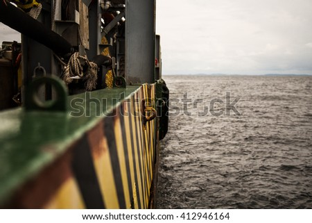 View from ship / vessel deck to open sea - heavy duty work at sea
