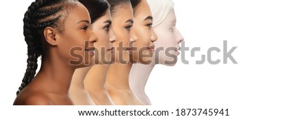 View from side. Multi-ethnic beauty. Collage of different ethnicity and beautiful young women isolated on white background. Flyer for ad. Concept of beauty, fashion, healthcare, skincare. Foto stock ©