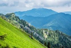 View from Sina peak, Demanovska valley, Low Tatras mountains, Slovak republic. Hiking theme. Seasonal natural scene.