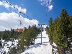 View from ski lift in mount bezbog, Rhodopi mountain, Bulgaria
